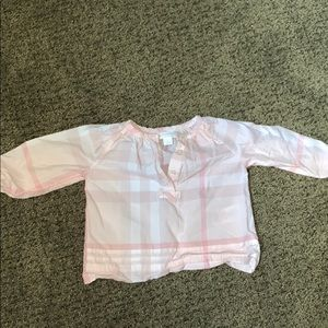 Pink Plaid Burberry Shirt 6 Months